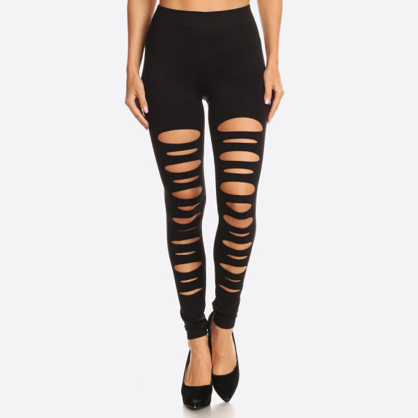 These sexy leggings are an instant day-to-night essential. The ripped design is cool and fulfills a strong sense of punk style. 