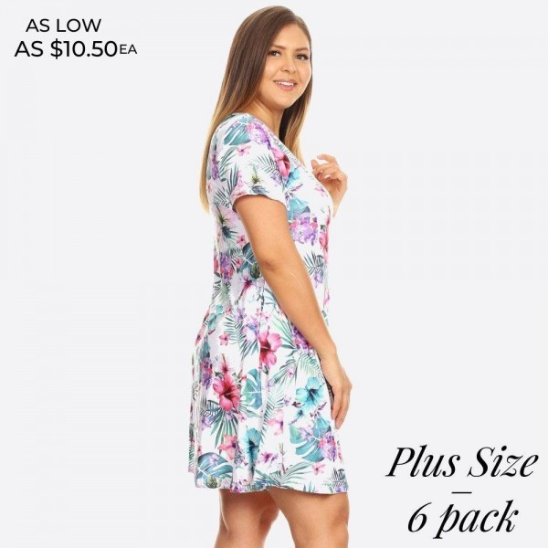 Whatever your dream vacation destination is, just be sure to pack this dress for sitting poolside with a cocktail or going out to dinner!   • Short sleeves, crewneck  • Tropical floral print design  • Soft and stretchy  • Fit and flare silhouette  • Knee length hem  • Two open side pockets holds keys/cash/phone  • Pullover styling  • Imported   Content: 95% Rayon, 5% Spandex   Pack Breakdown: 6pcs/pack. 2XL: 2XXL: 2XXXL