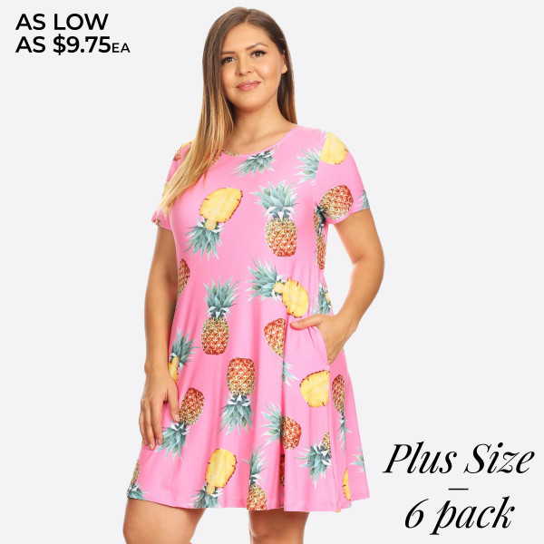 You'll feel sweet like pineapple and cute as can be in this fit & flare dress perfect for taking with you on vacay!   • Short sleeves, crewneck  • Pineapple print design  • Soft and stretchy  • Fit and flare silhouette  • Knee length hem  • Two open side pockets holds keys/cash/phone  • Pull over styling  • Imported   Content: 95% Rayon, 5% Spandex   Pack Breakdown: 6pcs/pack. 2XL: 2XXL: 2XXXL