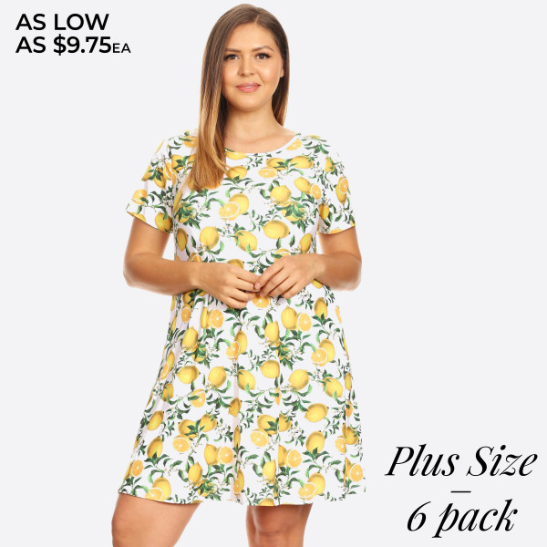 You're never sour, only sweet in this adorable lemon print dress!  • Short sleeves, crewneck  • Lemon print design  • Soft and stretchy  • Fit and flare silhouette  • Knee length hem  • Two open side pockets holds keys/cash/phone  • Pullover styling  • Imported   Content: 95% Rayon, 5% Spandex   Pack Breakdown: 6pcs/pack. 2XL: 2XXL: 2XXXL