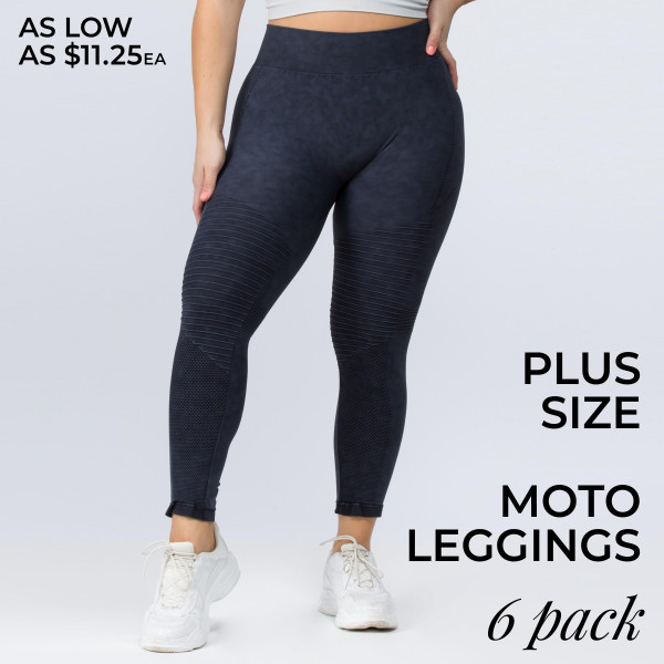 There's nothing better than a pair of soft, vintage wash, stretchy leggings. And this version features a moto design adds edgy appeal to your look for a sexy-sleek way to relax.   • Vintage Wash, Super Stretchy and Soft  • Moto Style Seaming  • Skinny Fit  • Pull-On Style  • Mid Rise  • Care:  • Imported   Composition: 94% Nylon, 6% Lycra   Pack Breakdown: 6pcs/pack. 6XL: (PLUS SIZE)