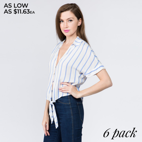 Woven shirt with basic collar, button front, low V cut neckline, short sleeves, and a self-tie closure at the hem. 100% Rayon. Comes in 6 pack: 2S, 2M, 2L.