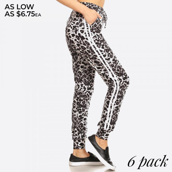Grey, black, and white animal print, varsity-striped joggers featuring an elastic waistband, drawstrings, waist pockets, and cuffed hem. Super soft, and comfortable.  Composition: 92% Polyester, 8% Spandex.  Pack Breakdown: 6pcs/pack. 1S: 2M: 2L: 1XL
