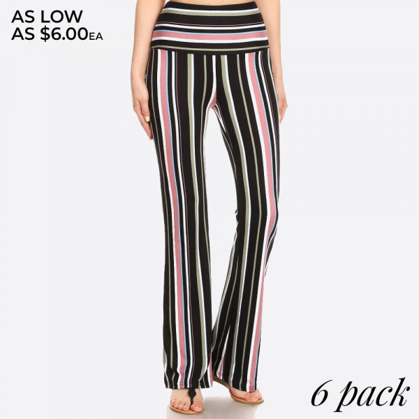 Soft-brushed, full-length bohemian flare pants featuring a high waist, slim fit, and wide, flared legs. Super soft, stretchy, and comfortable.   Color: Black, Green, and Mocha Striped Print.  Composition: 92% Polyester, 8% Spandex.  Pack Breakdown: 6pcs/pack. 1S: 2M: 2L: 1XL  MADE IN CHINA