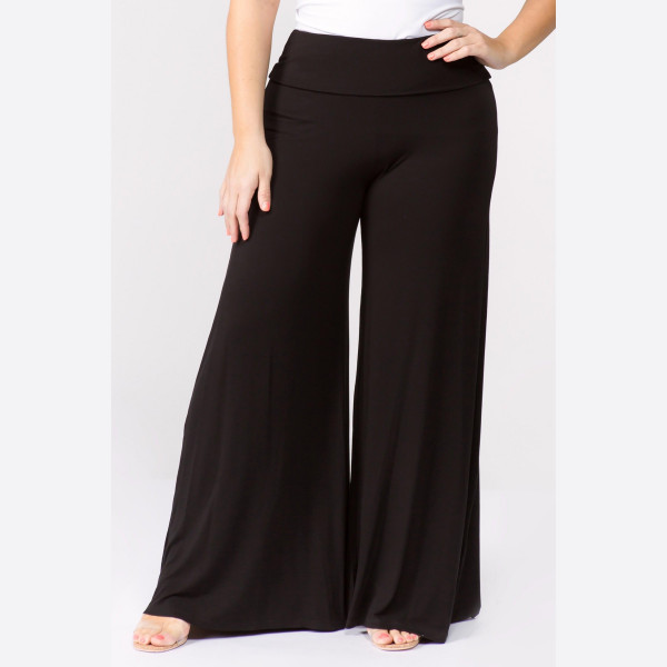 """Solid black PLUS SIZE palazzo pants featuring high waist and pull on styling. Inseam approximately 32"""" in length.   Breakdown: 6pcs / pack.   Sizes: 3 XL / 2 XXL / 1 XXXL.  Composition: 95% Rayon 5% Spandex."""