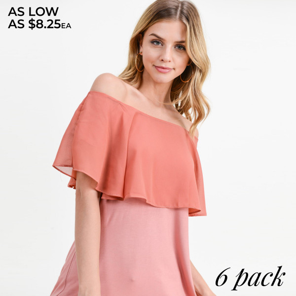"Solid top featuring off the shoulder style with a ruffle detail. Approximately 26"" in length.   Breakdown: 6pcs / pack.  Sizes: 2S / 2M / 2L.   Composition: 95% Rayon 5% Spandex."
