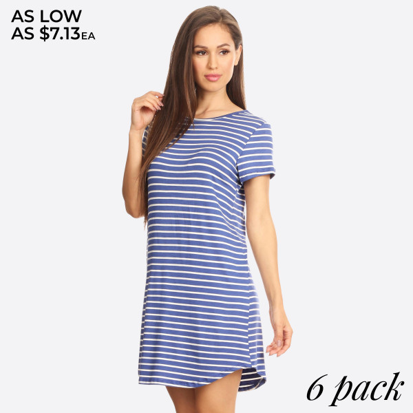 """This comfy tunic T-Shirt dress is perfect as a casual summer dress or a cozy winter dress when paired with leggings. Features soft and stretchy knit t-shirt fabric, unlined, and a curved hemline cut. Striped tunic T-Shirt dresses are always popular year round.   - Scoop Neckline  - Short Sleeve  - Curved Hemline  - Closure Style: Pullover  - Rayon/Spandex  - Machine wash, lay flat to dry  - IMPORTED   Approximately 36"""" long.  Content: 96% Rayon, 4% Spandex   Pack Breakdown: 6pcs/pack. 2S: 2M: 2L"""