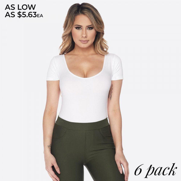 Change up your look with this bodysuit! Use it as the base for all of your day or night outfits!   -Short sleeves, scoop-neck  -Seamless design  -Pull up/off styling, no closures -Bikini-cut bottom  -Soft and stretchy fabric  -Closure Style: Pull-Up  -Machine Wash with Similar Colors using Gentle Cycle  -Imported   Fits most 0-14   Composition: 92% Nylon, 8% Spandex.   Pack Breakdown: 6pcs/pack. ONE SIZE
