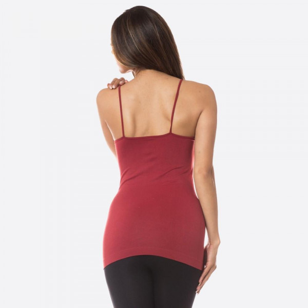 "Women's solid seamless triple criss cross camisole.  • Scoop-neck • Unique Crisscross Front • Spaghetti Straps • Ultra Soft • Stretchy Knit • Machine Wash • Imported  - One size fits most 0-14 - Approximately 22"" L - 92% Nylon, 8% Spandex"
