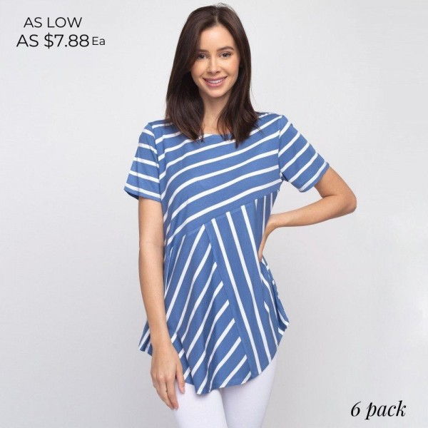 "Striped denim and white short sleeve tunic top. Approximately 27"" in length.  - Pack Breakdown: 6pcs / pack  - Sizes: 2S / 2M / 2L  - Composition: 95% Rayon, 5% Spandex"