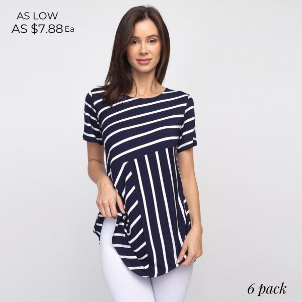 Striped navy and white REGULAR SIZE short sleeve tunic top comes in 6 pack.  Pack Breakdown: 2S / 2M / 2L.  Composition: 95% Rayon 5% Spandex.