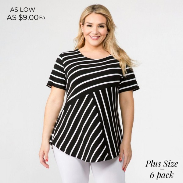 """PLUS size striped short sleeve tunic top. Approximately 30"""" in length.  - Pack breakdown: 6pcs / pack  - Sizes: 2-XL / 2-XXL / 2-XXXL  - Composition: 95% Rayon, 5% Spandex"""