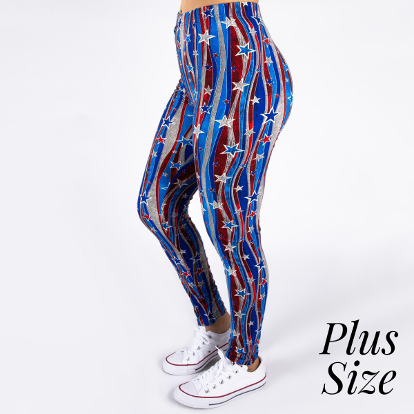 """PLUS SIZE peach skin 4th of July full-length leggings featuring stars and stripes. Inseam approximately 26"""".  - One size fits most 16-20  - Composition: 92% Polyester, 8% Spandex/Elasthanne"""