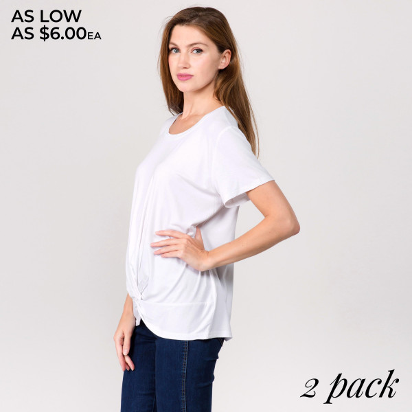 "Solid short sleeve tunic top featuring a front tie detail. Approximately 24"" in length.  - Pack Breakdown: 2pcs / pack  - Sizes: 1-S/M / 1-L/XL   - Composition: 95% Cotton, 5% Spandex"