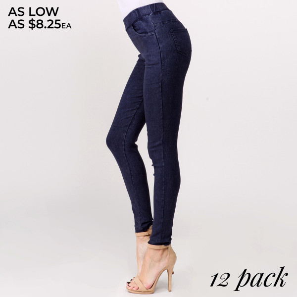 "Super stretchy, denim jeggings featuring pull on style. Inseam approximately 28"".  - Pack Breakdown: 12pcs / pack  - Sizes: 4-S/M / 4-L/XL / 4-XL/XXL  - Composition: 65% Cotton, 30% Polyester, 5% Elasthanne"