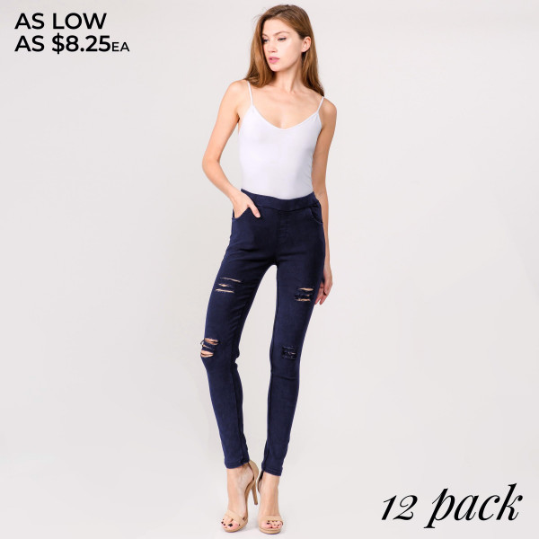 "Super stretchy, denim distressed jeggings featuring pull on style. Inseam approximately 28"".   - Pack Breakdown: 12pcs / pack   - Sizes: 4-S/M / 4-L/XL / 4-XL/XXL   - Composition: 65% Cotton, 30% Polyester, 5% Elasthanne"