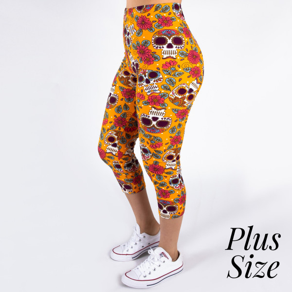 Wholesale pLUS peach skin sugar skull print capri leggings Inseam One fits most