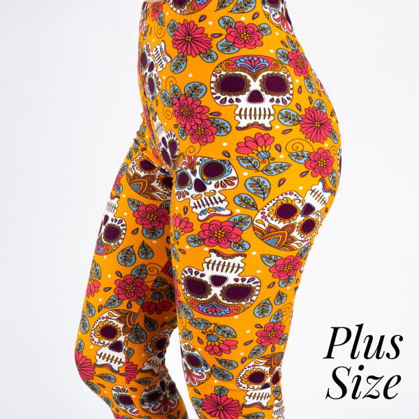 "PLUS SIZE peach skin sugar skull print capri style leggings. Inseam approximately 19"".  - One size fits most 16-20  - Composition: 92% Polyester, 8% Spandex/Elasthanne"
