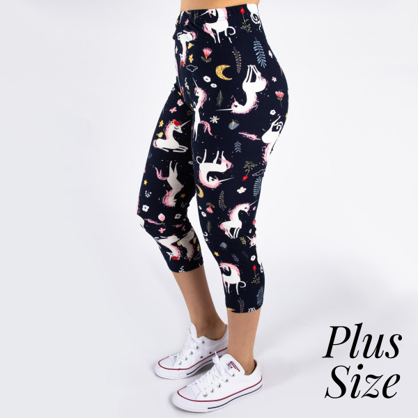 "PLUS SIZE peach skin unicorn print capri style leggings. Inseam approximately 19"".  - One size fits most 16-20  - Composition: 92% Polyester, 8% Spandex/Elasthanne"