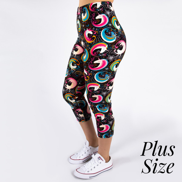 "PLUS SIZE peach skin rainbow unicorn print capri style leggings. Inseam approximately 19"".  - One size fits most 16-20  - Composition: 92% Polyester, 8% Spandex/Elasthanne"