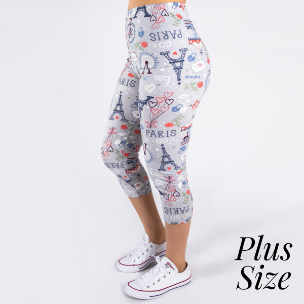 """PLUS SIZE peach skin Paris print capri style leggings. Inseam approximately 19"""".  - One size fits most 16-20  - Composition: 92% Polyester, 8% Spandex/Elasthanne"""