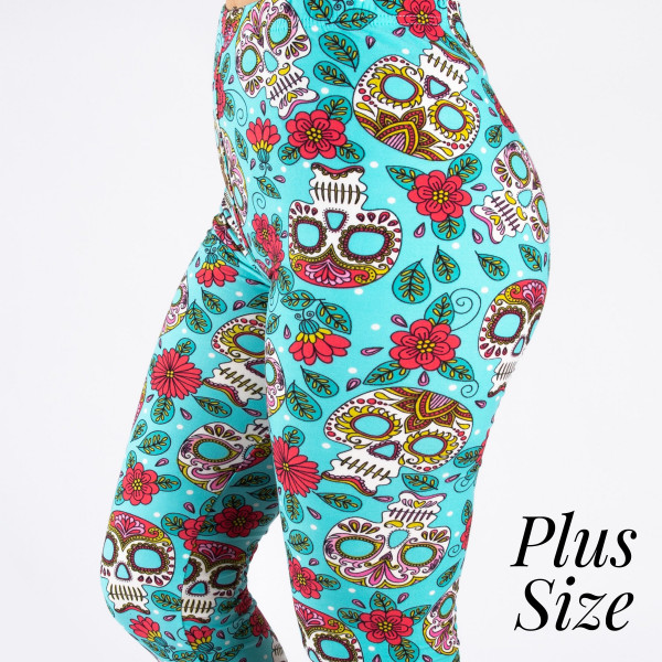 "PLUS SIZE peach skin sugar skull print full-length leggings. Inseam approximately 26"".  - One size fits most 16-20  - Composition: 92% Polyester, 8% Spandex/Elasthanne"