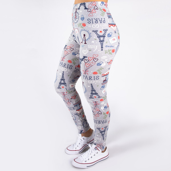 """Peach skin Paris print full-length leggings. Inseam approximately 26"""".  - One size fits most 0-14  - Composition: 92% Polyester, 8% Spandex/Elasthanne"""