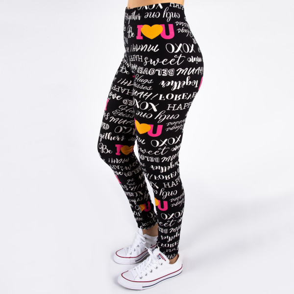 """Peach skin """"I Love You"""" print full-length leggings. Inseam approximately 26"""".  - One size fits most 0-14  - Composition: 92% Polyester, 8% Spandex/Elasthanne"""