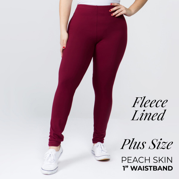 """Solid color peach skin fleeced lined plus size leggings.  - One size fits most plus 16-22 - Inseam approximately 26"""" in length - 92% Polyester, 8% Spandex"""