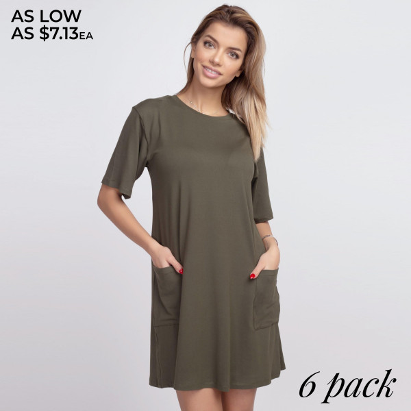 "Solid color half sleeve tunic dress with pockets. Approximately 34"" in length.  - Pack Breakdown: 6pcs / pack  - Sizes: 2S / 2M / 2L  - Composition: 95% Polyester, 5% Spandex"