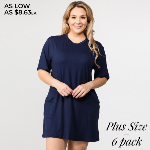 "Solid color PLUS size short sleeve tunic dress with pockets. Approximately 34"" in length.  • Short  • Crewneck  • Two open front pockets  • Above the knee length hem  • Soft and stretchy fabric  • Imported   - Pack Breakdown: 6pcs / pack  - Sizes: 2-XL / 2-1X / 2-2X  - Composition: 95% Rayon, 5% Spandex"