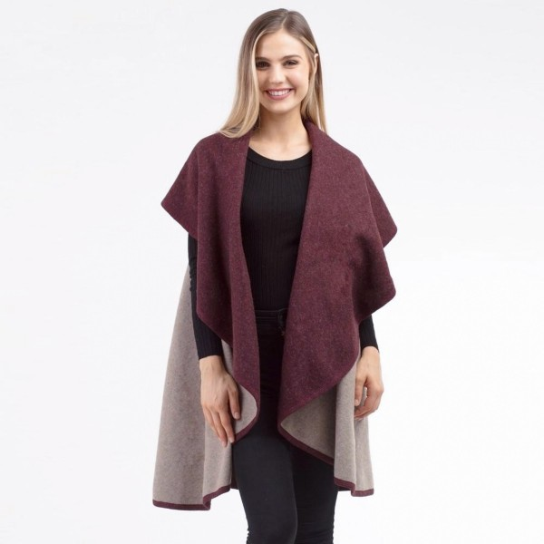 """Two tone reversible round shawl vest.   - One size fits most 0-14 - Approximately 49"""" in length - 100% Acrylic"""