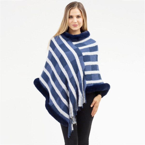 """Block stripe faux fur trim poncho with fringes.  - One size fits most 0-14 - Approximately 37"""" in length - 100% Acrylic"""