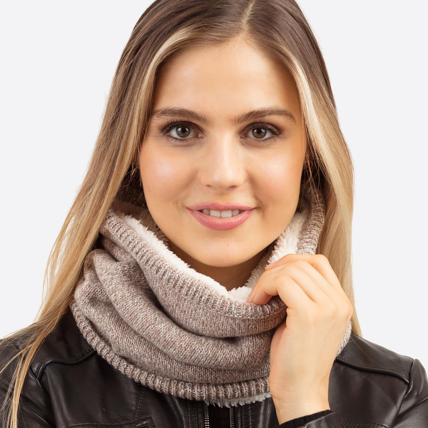 "Sherpa lined neck warmer/tube scarf.  - Approximately 11.75"" W x 13.75"" L - 65% Acrylic, 35% Wool"