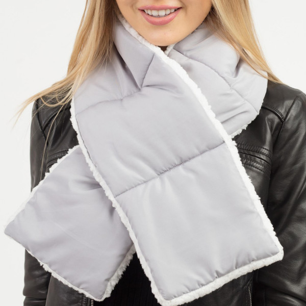 "Solid color sherpa quilted scarf.  - Approximately 7"" W x 49"" L - 100% Polyester"