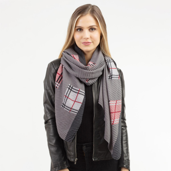 "Block plaid pleated scarf.  - Approximately 31.5"" W x 74"" L - 100% Polyester"