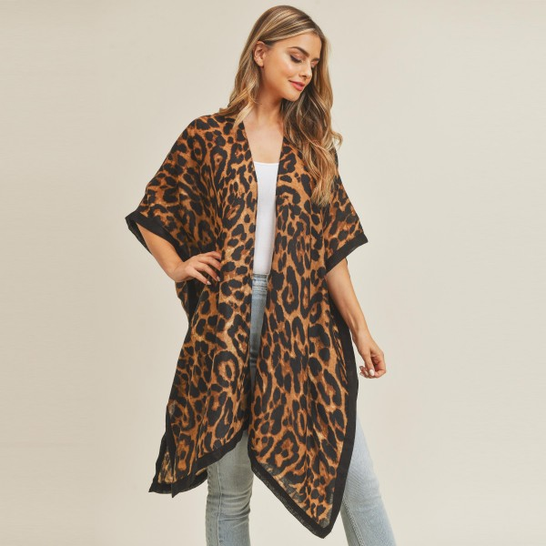 "Lightweight leopard print kimono.  - Approximately 61"" in length - 100% Polyester"