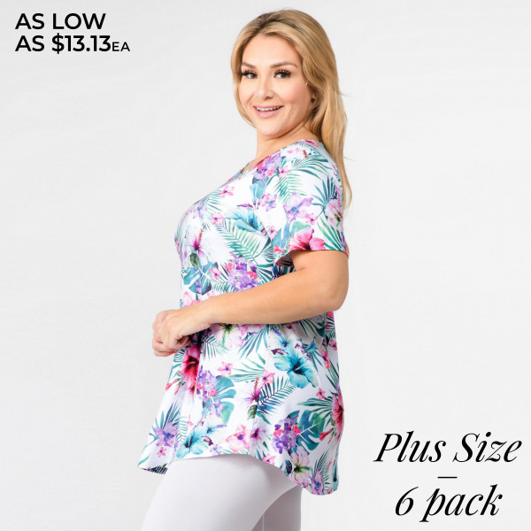 "Plus size black tropical floral print short sleeve tunic top. Approximately 30"" in length.  • Short sleeves  • Round neck  • Tropical floral print  • Scooped hem  • Soft and stretchy  • Perfect for styling with jeans or shorts  • Imported   - Pack Breakdown: 6pcs / pack  - Sizes: 2-XL / 2-1XL / 2-2XL  - Composition: 95% Polyester, 5% Spandex"