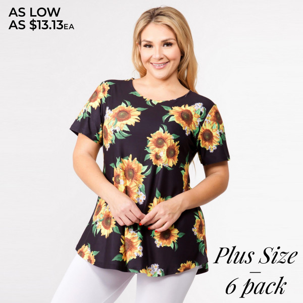 """Plus size black sunflower print short sleeve tunic top. Approximately 30"""" in length.  - Pack Breakdown: 6pcs / pack  - Sizes: 2-XL / 2-2XL / 2-3XL  - Composition: 95% Polyester, 5% Spandex"""
