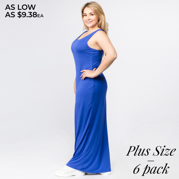 """Solid color PLUS size full-length sleeveless maxi dress. Approximately 50"""" in length.  - Pack Breakdown: 6pcs / pack  - Sizes: 2-XL / 2-1X / 2-2X  - Composition: 95% Rayon, 5% Spandex"""