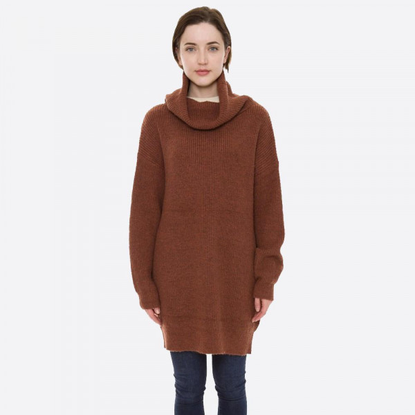 """Solid color knit turtle neck sweater dress.  - One size fits most 0-14 - Approximately 29"""" in length - 50% Acrylic, 50% Polyamide"""
