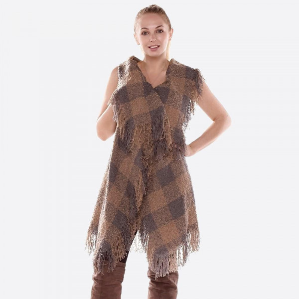 """Plaid printed vest with fringes.  - One size fits most 0-14 - Approximately 32"""" in length - 100% Acrylic"""