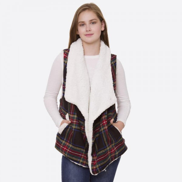 """Tartan plaid vest with sherpa lining and pocket details.  - One size fits most 0-14 - Approximately 24"""" in length - 100% Polyester"""