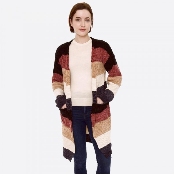"Chenille color block cardigan with pocket details.   - One size fits most 0-14 - Approximately 36"" in length - 100% Polyester"