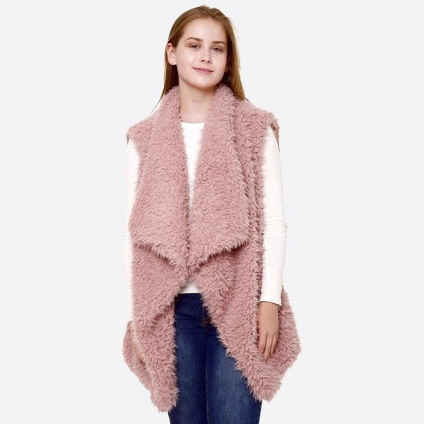 "Faux fur vest.  - One size fits most 0-14 - Approximately 30"" L  - 100% Polyester"