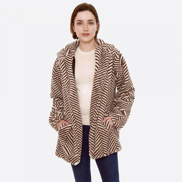 "Hooded faux fur herringbone print coat with crepe satin inside lining.  - Two functional side pockets - Hook and eye closure - One size fits most 0-14 - Approximately 30"" in length - 100% Polyester"
