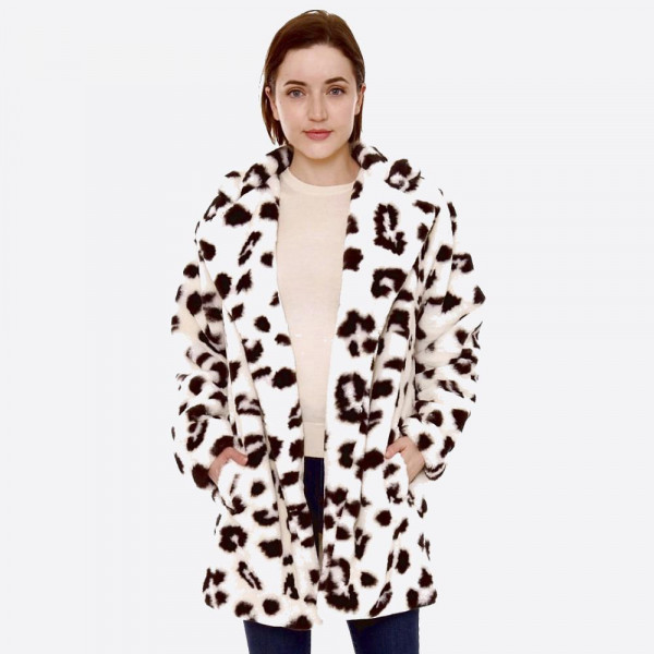 "Faux fur leopard print coat with crepe satin inside lining.  - Two front functional pockets - Hook and eye closure - One size fits most 0-14 - Approximately 33"" in length - 100% Polyester"