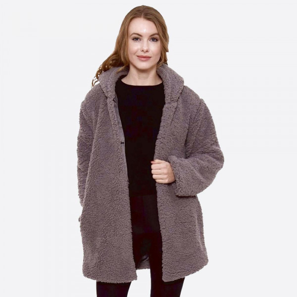 """Hooded sherpa coat with pocket details.  - One size fits most 0-14 - Approximately 30"""" in length - 100% Polyester"""