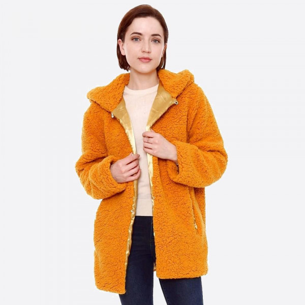 """Hooded sherpa coat with crepe satin inside lining.  - Two functional side pockets - Hook and eye closure - One size fits most 0-14 - Approximately 30"""" in length - 100% Polyester"""