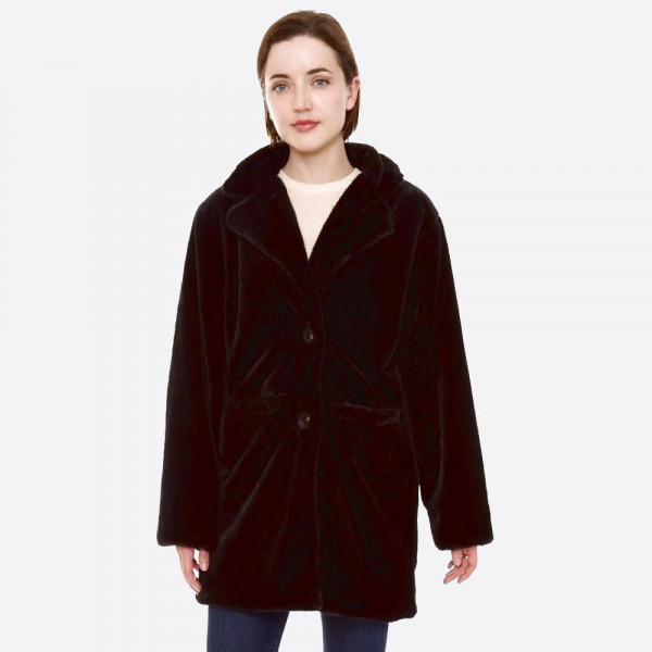 "Faux fur coat with crepe satin inside lining.  - Two functional front pockets - Button closure - One size fits most 0-14 - Approximately 33"" in length - 100% Polyester"